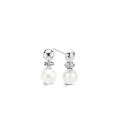 Orecchini Ti Sento 7680PW. Questi orecchini in argento sterling rodiato presentano madreperla bianca e zirconi incastonati. Diametro 8 mm.