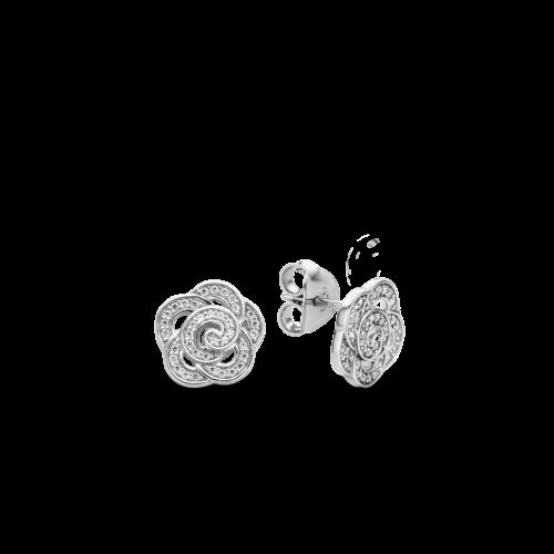 Orecchini Ti Sento 7756ZI. Orecchini in argento sterling placcato oro rosa a forma di fiore, ricoperto completamente da zirconi che aggiungono un tocco luminoso al tuo look.