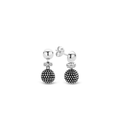 """Orecchini Ti Sento 7758SB. Questi orecchini in argento sterling rodiato presentano una fantasia a """"bolle"""" e pavé di zirconi. Dimensioni gioiello: lunghezza 1,9 cm, larghezza 0,8 cm."""
