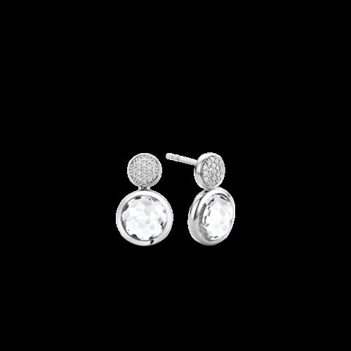 Orecchini Ti Sento 7778ZI. Orecchini in argento sterling rodiato con pavé di zirconi bianchi e pietre bianche sfaccettate. Dimensioni gioiello: lunghezza 1,7 cm, larghezza 1 cm.
