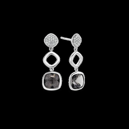 Orecchini Ti Sento 7807GB. Questi orecchini in argento sterling rodiato presentano zirconi bianchi e pietre quadrate color grigio-azzurro.
