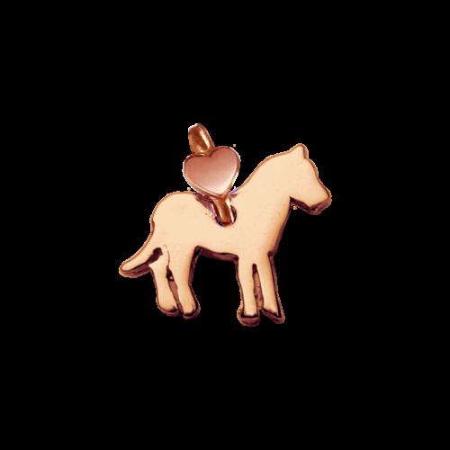 """Ciondolo Dodo Mariani N/Adella collezione """"Gli amici del cuore"""". Ciondolo a forma di cavallo 1 cm x 1 cm in oro rosa 9 kt."""