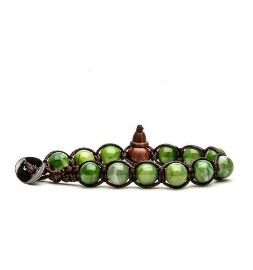 Bracciale unisex Tamashii Classic BHS900-209. Bracciale realizzato con un cordino di cotone, calabash in legno, sfere di agata verde menta del diametro di 8 mm e bottone metallico di chiusura. Lunghezza regolabile da 16 cm a 23 cm.