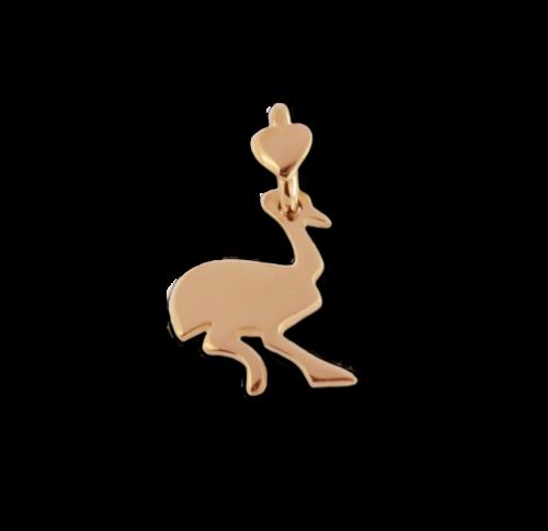 """Ciondolo Dodo Mariani N/Adella collezione """"Gli amici del cuore"""". Ciondolo a forma di struzzo 2 cm x 1 cm in oro rosa 9 kt."""