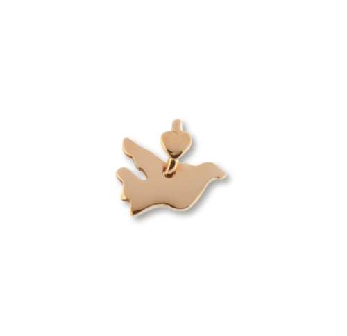 """Ciondolo Dodo Mariani N/Adella collezione """"Gli amici del cuore"""". Ciondolo a forma di colomba 1,5 cm x 1,5 cm in oro rosa 9 kt."""