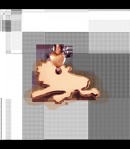"""Ciondolo Dodo Mariani N/Adella collezione """"Gli amici del cuore"""". Ciondolo a forma di leone 1,5 cm x 1 cm in oro rosa 9 kt."""