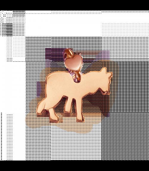 """Ciondolo Dodo Mariani N/Adella collezione """"Gli amici del cuore"""". Ciondolo a forma di lupo 1,5 cm x 1,5 cm in oro rosa 9 kt."""