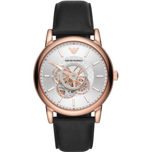 Orologio uomo Emporio Armani AR60013. Questo orologio presenta un diametro di 43 mm, cassa in acciaio inossidabile con finitura lucida di colore rose gold e cinturino in pelle nero.