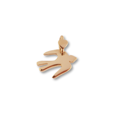 """Ciondolo Dodo Mariani N/Adella collezione """"Gli amici del cuore"""". Ciondolo a forma di rondine 1,5 cm x 1 cm in oro rosa 9 kt."""