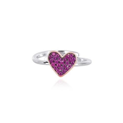 Anello donna Mabina 523130. Anello in argento bicolore con cuore in pavé di rubini sintetici. Misura regolabile.