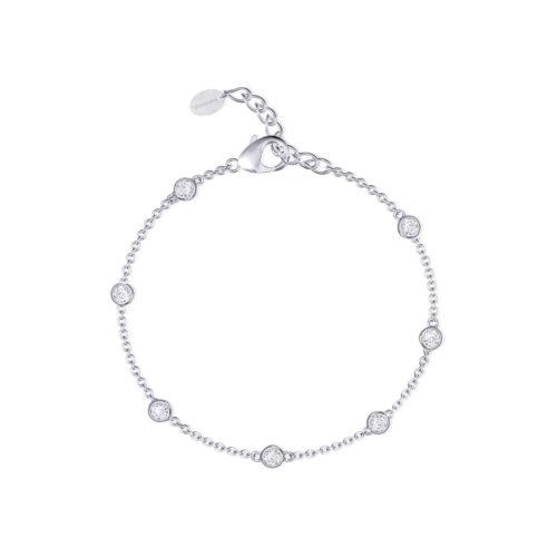 Bracciale donna Mabina 533240. Bracciale in argento con punti luce. Chiusura con moschettone. Misura regolabile da 16 a 19 cm.
