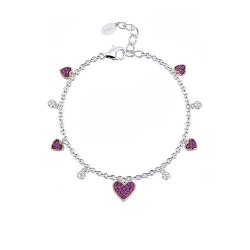 Bracciale donna Mabina 533289. Bracciale in argento bicolore con cuori rosati in pavé di rubini sintetici e punti luce alternati. Chiusura con moschettone. Misura regolabile da 16 a 19 cm.
