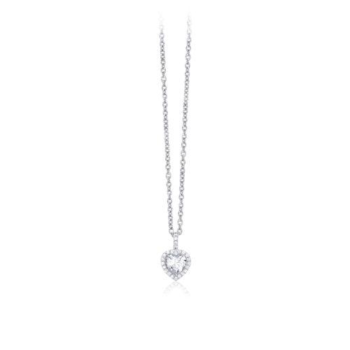 Collana donna Mabina 553103. Collana in argento con ciondolo a cuore e zirconi. Chiusura con moschettone. Misura regolabile: lunghezza da 40 a 45 cm.