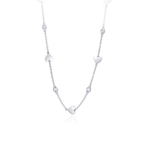 Collana donna Mabina 553216. Collana in argento con punti luce e cuori. Chiusura con moschettone. Misura regolabile: lunghezza da 40 a 45 cm.
