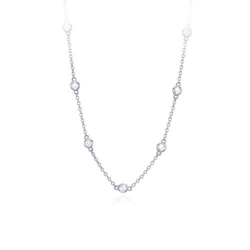 Collana donna Mabina 553217. Collana in argento con punti luce. Chiusura con moschettone. Misura regolabile: lunghezza da 40 a 45 cm.