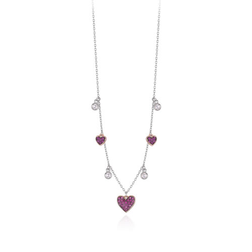 Collana donna Mabina 553285. Collana in argento bicolore con cuori rosati in pavé di rubini sintetici e punti luce alternati. Chiusura con moschettone. Misura unica: lunghezza 42 cm.