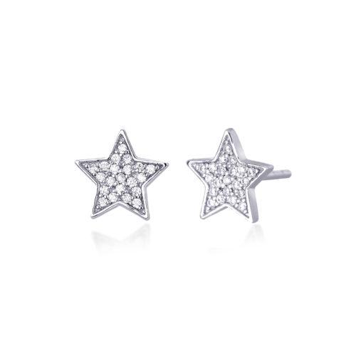 Orecchini donna Mabina 563166. Orecchini a lobo in argento a forma di stella con pavé di zirconi. Misura unica.