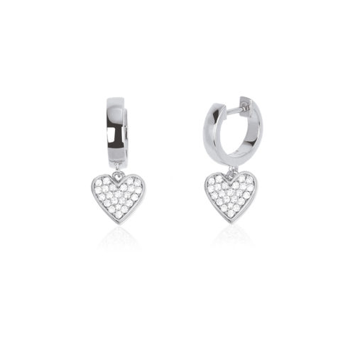 Orecchini donna Mabina 563252. Orecchini a cerchio in argento con ciondolo a forma di cuore in pavé di zirconi. Misura unica.