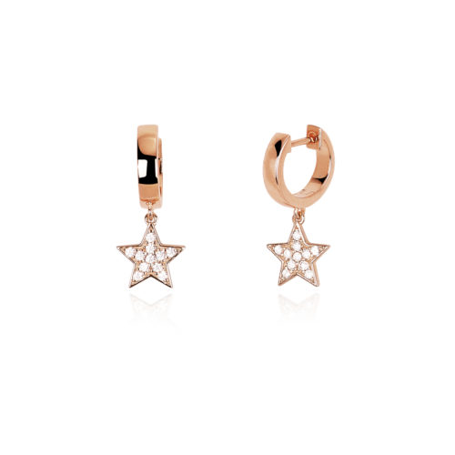 Orecchini donna Mabina 563253. Orecchini a cerchio in argento rosato con ciondolo a stella in pavé di zirconi. Misura unica.