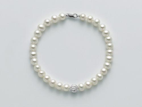 Bracciale Yukiko PBR2307BY in oro con perle e sfera diamantata.