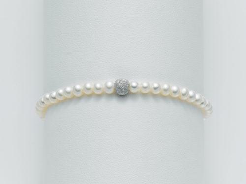 Bracciale Yukiko PBR893Y in oro con perle e sfera diamantata.
