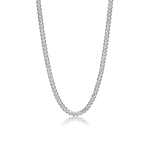 Collana S'agapò SRP01 della collezione Ripple. Collana a catena grumetta diamantata in acciaio 316L. Misura collana: 49 cm.