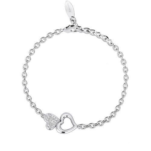 Bracciale 2Jewels 232046 della collezione Mon Amour. Bracciale in acciaio 316L con ciondoli a forma di cuore . Lunghezza: 19 cm.