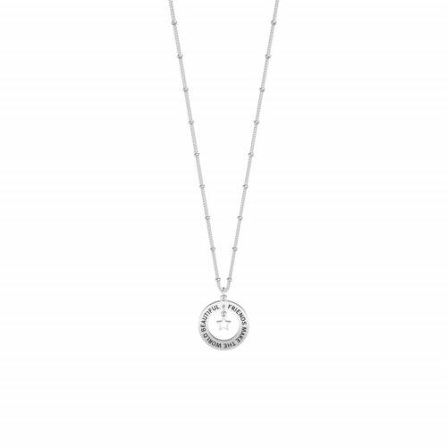 Collana Kidult donna751170 in acciaio con ciondolo a forma di cerchio inciso, ciondolo a forma di stella smaltata bianca e catena groumette con anellini.