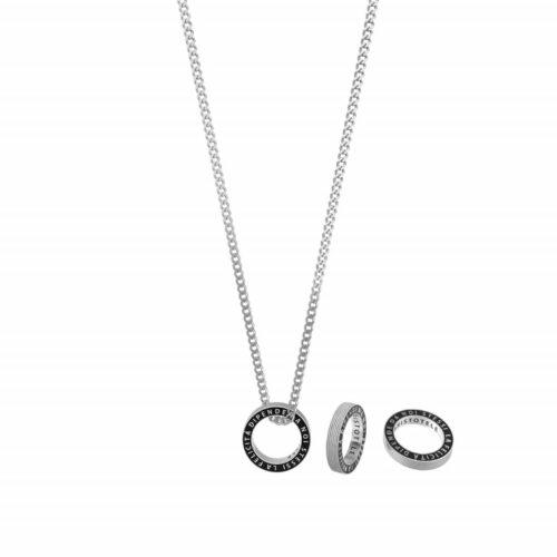 """Collana Kidult uomo751196 con catena groumette in acciaio e ciondolo a forma di anello nero con scritta incisa: """"La felicità dipende da noi stessi"""""""