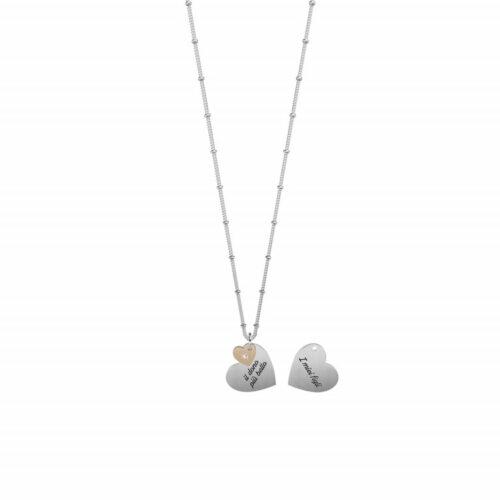 Collana Kidult donna751171 realizzata in acciaio con due ciondoli a forma di cuore, di cui uno inciso fronte e retro e catena groumette con anellini.