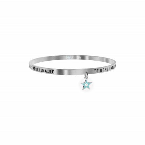 """Bracciale Kidult Donna731880 della collezione Philosophy. Bracciale realizzato in acciaio inossidabile silver con pendente a forma di stella e citazione incisa: """"È bene fare una pausa nella ricerca della felicità ed essere semplicemente felici - Apollinaire -"""""""