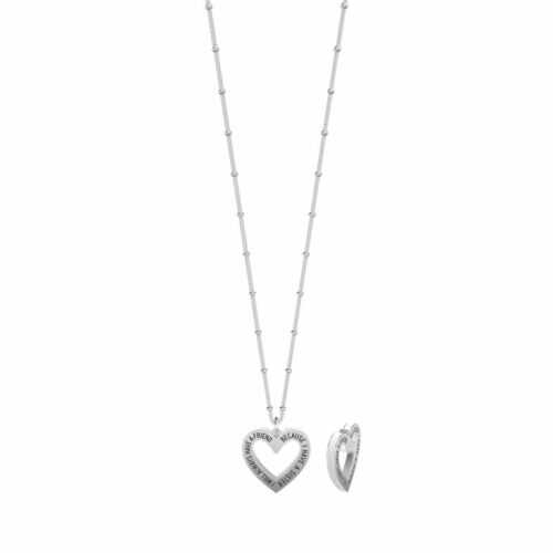 "Collana Kidult donna 751173 in acciaio inossidabile con ciondolo a forma di cuore inciso - ""I will always have a friend because I have a sister"" -"