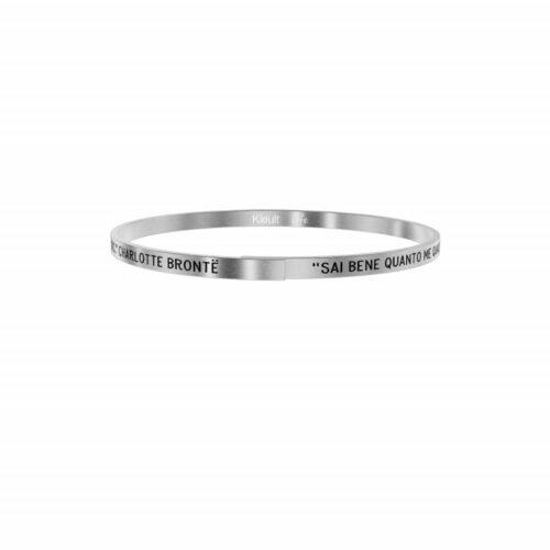 """Bracciale Kidult Donna731881 della collezione Family. Bracciale realizzato in acciaio inossidabile silver con citazione incisa: """"Sai bene quanto me qual è il valore dell'affetto di una sorella: non c'è nulla di simile in questo mondo - Charlotte Brontë -"""""""