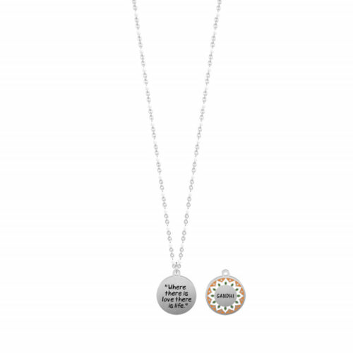 "Collana Kidult donna 751202 realizzata in acciaio inossidabile con ciondolo tondo smaltato e citazione incisa: ""Where there is love, there is life""-"