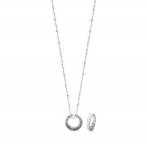 """Collana Kidult donna751174 in acciaio inossidabile con ciondolo a forma di cerchio inciso - """"Fai della tua vita un sogno e di un sogno una realtà"""" -"""