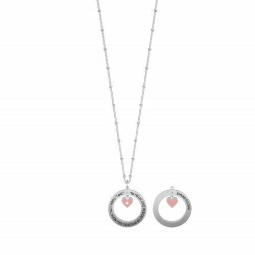 """Collana Kidult donna751175 in acciaio con ciondolo a forma di cerchio inciso """"Ma poi che cos'è un bacio? Un apostrofo rosa messo tra le parole t'amo"""""""
