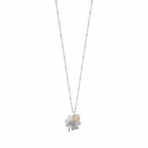 """Collana Kidult donna751176 in acciaio con due ciondoli a forma di quadrifoglio, di cui uno inciso """"I wish you lots of luck""""- """"Ti auguro tanta fortuna"""""""