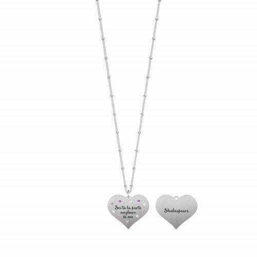 """Collana Kidult donna751177 in acciaio con ciondolo a forma di cuore, impreziosito da cristalli colorati e citazione incisa:""""Sei tu la parte migliore di me"""""""
