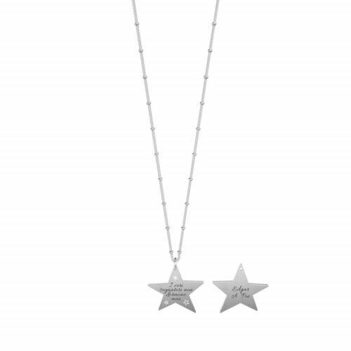 """Collana Kidult donna751179 in acciaio inossidabile con ciondolo satinato a forma di stella e citazione incisa: """"I veri sognatori non dormono mai""""."""