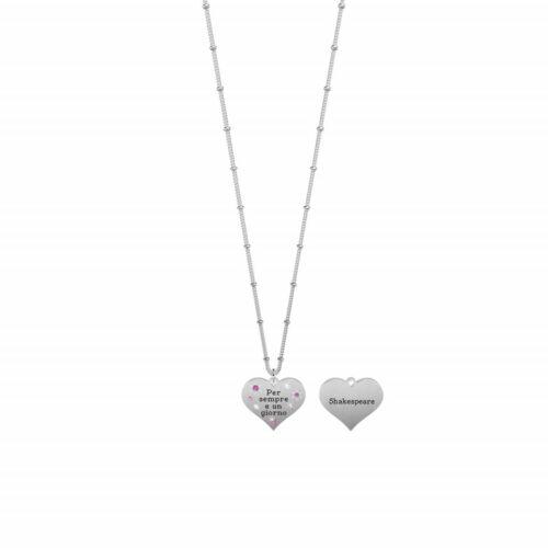 """Collana Kidult donna751183 in acciaio inossidabile con ciondolo a forma di cuore impreziosito da cristalli colorati e citazione incisa: """"Per sempre e un giorno"""""""