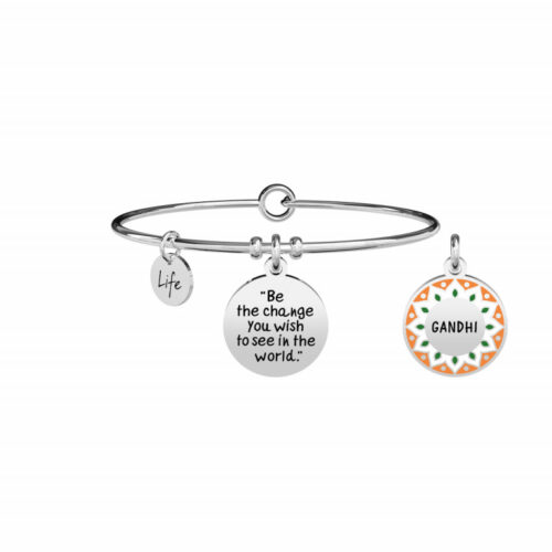 "Bracciale Kidult Donna 731884 in acciaio inossidabile silver con pendente rotondo smaltato e citazione incisa: ""Be the change you wish to see in the world"""