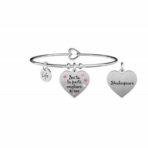"""Bracciale Kidult Donna731874 della collezione Love. Bracciale realizzato in acciaio inossidabile silver con pendente a forma di cuore, impreziosito da cristalli colorati e citazione incisa: """"Sei tu la parte migliore di me"""""""