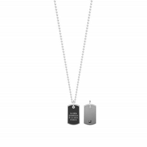 """Collana Kidult uomo751188 con catena pallinata in acciaio inossidabile e ciondolo a forma di piastrina con scritta incisa: """"La famiglia è la mia forza"""""""