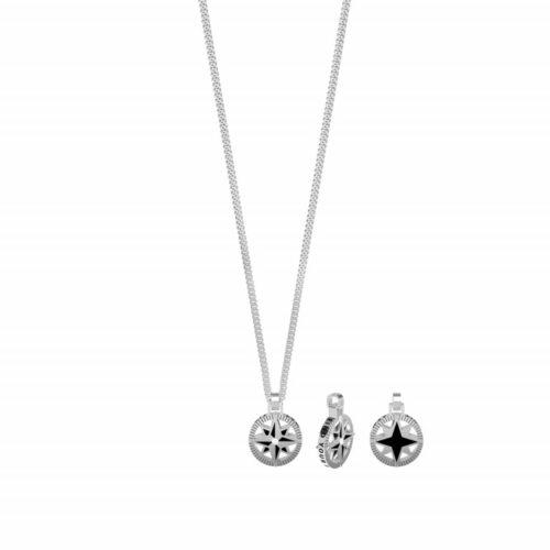 Collana Kidult uomo751169 della collezione Symbols. Collana realizzata in acciaio inossidabile con ciondolo tondo satinato a forma di rosa dei venti e catena groumette. Lunghezza 50 cm.