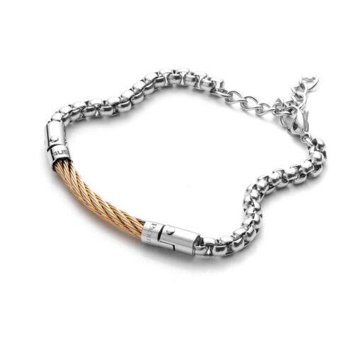 Bracciale Uomo 4US Cesare Paciotti 4UBR3525 della collezione Rose Gold Spiral. Bracciale in acciaio con elemento centrale a forma di spirale in pvd oro rosa. Lunghezza 22 cm; regolabile grazie alla chiusura a moschettone.