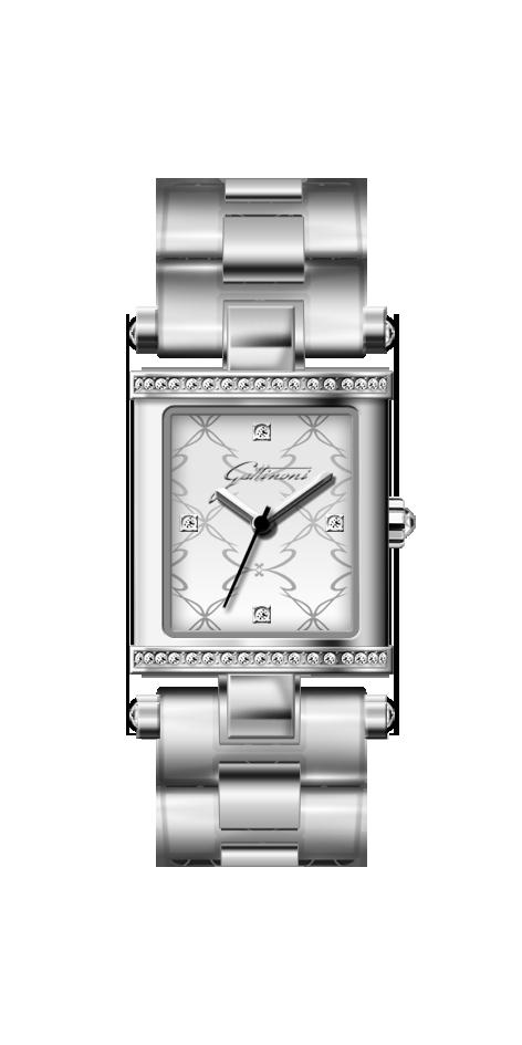 Orologio Gattinoni GW01SSW con quadrante opaco di forma rettangolare 20x24 mm impreziosito da zirconi, cinturino in acciaio con finitura silver e vetro minerale.