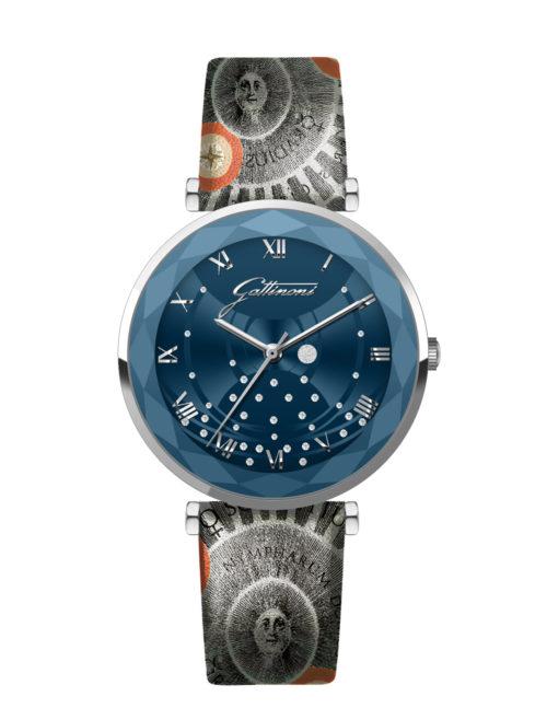 Orologio Gattinoni GW15SPL1 con quadrante blu con stampa planetario e glitter, numeri in rilievo e pietre, cinturino in vera pelle con stampa planetario e vetro minerale con bordo sfaccettato.