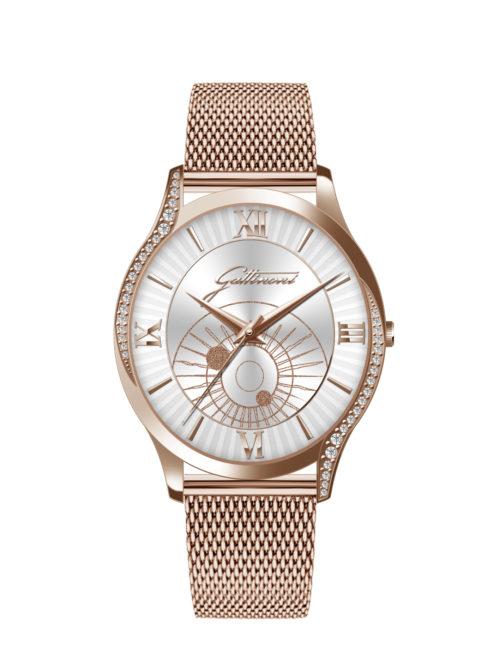 Orologio Gattinoni GW20RS1 con cinturino in acciaio, quadrante con stampa planetario lucida, glitter index in rilievo, numeri in rilievo e vetro minerale.