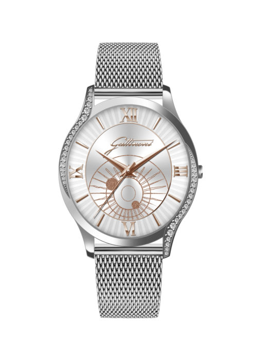 Orologio Gattinoni GW20SS1 con cinturino in acciaio, quadrante con stampa planetaro lucida/glitter index in rilievo/numeri in rilievo e vetro minerale.