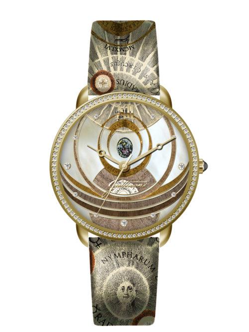 Orologio Gattinoni GW22GPL1 con quadrante con stampa planetaro lucida, 11 strass applicati, numeri in rilievo, cinturino in vera pelle con stampa e vetro minerale.